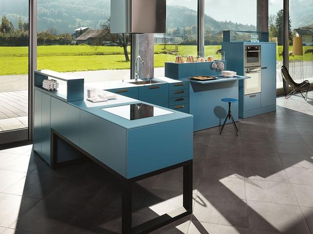 modrá kuchyň